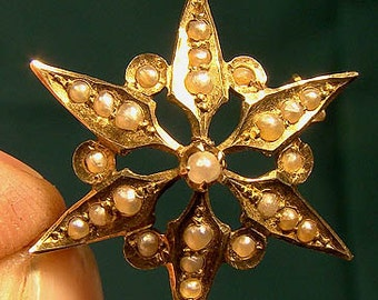 Antique 14k Starburst Seed Pearls Brooch or Pin 1900 14 K Yellow Gold