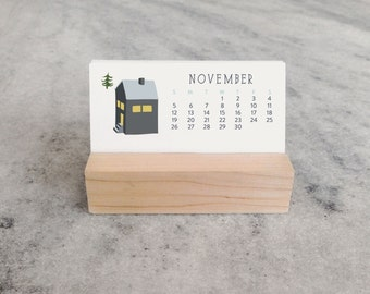 2018 Mini Desk Calendar with Wood Stand, Monthly Calendar, stocking stuffer, illustrated village cottages