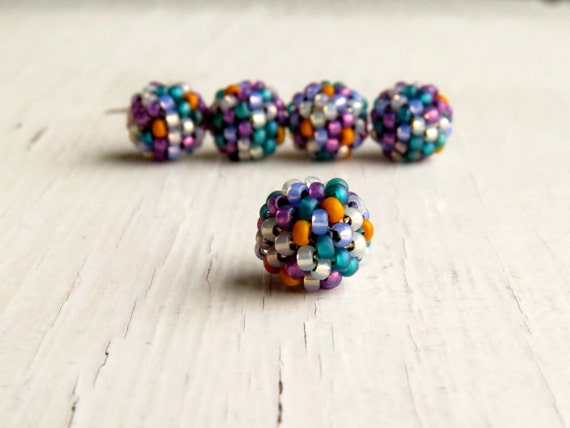 End of Day Handwoven Beads - small handwoven beads - handwoven beaded beads - handmade beads - seed bead beads, multi color beaded beads, uk