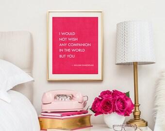 Shakespeare Wedding Quote - Shakespeare Romantic Print - Anniversary Gift - Tempest