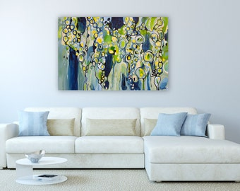 "Abstract Acrylic Painting on Canvas, Modern Art, 60x40, ""Babbling Brook"""