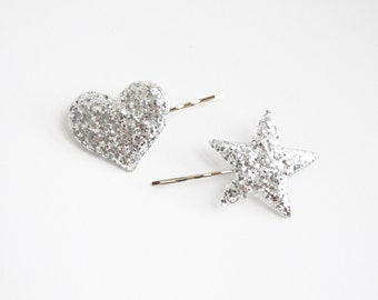 Set of 2 Silver Glitter Heart and Star Bobby Hair Pins