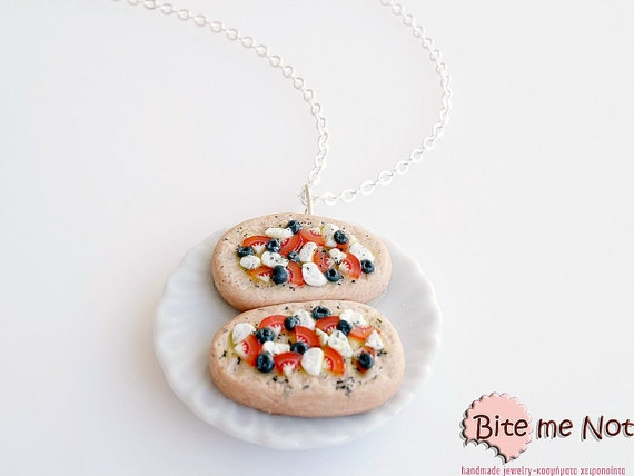 """Greek """"Dakos"""" Necklace, Greek Traditional Feta, Greek Salad Necklace, Food Jewelry, Mini Food, Kawaii Jewelry, Tomato Olives Jewelry"""