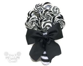 Black and White Lollipop Wedding Bouquet,  Black and White Bridal Bouquet, Black and White Wedding, Halloween Wedding Bouquet, Black Bouquet