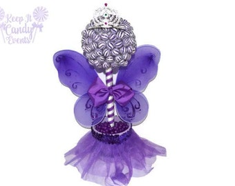 Purple Lollipop Fairy Princess Topiary, Purple Birthday Centerpiece, Fairy Candy Centerpiece, Purple Princess Decor, Purple Fairy Birthday