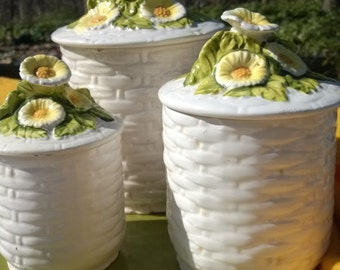 Daisy Flower Lefton Ceramic Kitchen Canisters Spring Set of 3 with Lids Basketweave White