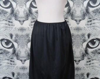 70s Black Nylon Half Slip by Vanity Fair / M / L