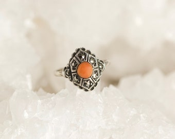 Antique Art Deco Silver Salmon Coral and Marcasite Ring Size 5.5