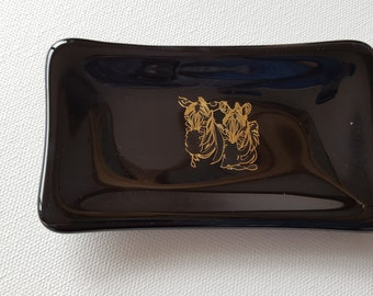 Gold Zebra Ring Dish, Art Trinket Tray, Jewelery Dish Gift for Her, Birthday for Girlfriend Animal Lover,  Present for Wildlife Fan