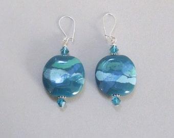 Kazuri Blue and Green Teal Earrings