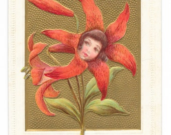 Tiger Lily Girl Birthday Postcard, 1909