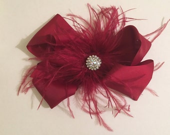 Burgundy Red Wine Hair Fascinator. Dance Costume Competition Hair Pieces, 7 x 8 Hair Bow,  Bridal Hair Fascinators, Fancy Girl BoutiqueNYC