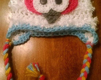 Adorable kids/toddler/infant/Newborn/baby fuzzy owl hat.