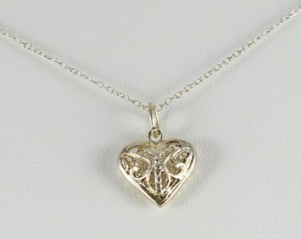 Sterling Silver Small Heart Necklace and 18 inch chain