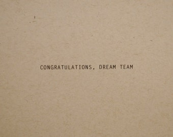Dream Team wedding card, congratulations card, engagement card for couple, love card, wedding congratulations card