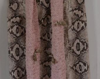 HandKnittedScarf SoftPinkTexturedScarf SilkSatinTrim WearableArt, OOAK Scarf,