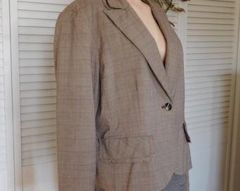 Brown Plaid Fringed Suit Blazer Plus Size 18 Shoulder Pads Vintage