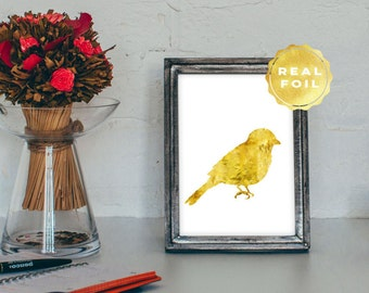 Bird Real Gold Foil - Bird Art Print - Gold Bird Print - Gold Foil Prints - White and Gold Art - Gold Room Decor -  Aviary