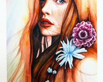 """Quality archival print from an original artwork, beautiful woman and flowers """"Anastasia"""""""
