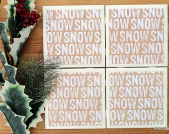 Ceramic Coasters - Winter Decor - Ceramic Tile Coasters - Coaster Set - Table Coasters - Snow Coasters - Coaster - Tile Coaster