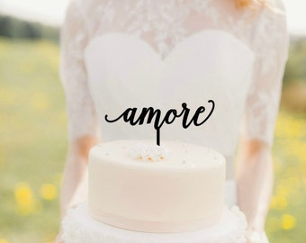 wedding cake topper | amore topper | gold wood | calligraphy topper | italian love cake topper | wedding decor | gold topper | DIY topper |