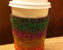 Coffee or Tea Cup Cozy, hand knitted, multicolor, cup insulator