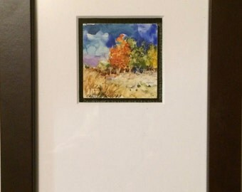 """Original Watercolor painting on clay board """"Happy Valley Autumn"""" by Camille Collins in Orange, Green and Blue"""