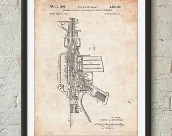 M-16 Rifle Patent Poster, Gun Poster, Military Gifts, Gun Enthusiast, Gun Gifts, PP0044
