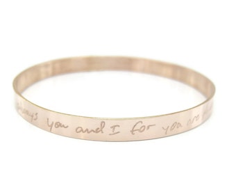 Gift, Rose Gold Personalized Handwriting Bracelet, Memorial Jewelry, Signature Bracelet, Loved Ones Actual Handwriting Jewelry, Gift for Her