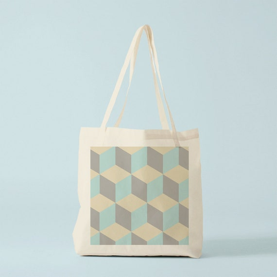 Canvas bag, tote bag, geometric pattern, shopping bag, ciment tiles, blue and sand, gift for coworker, sixties, cotton bag, bambouchic.