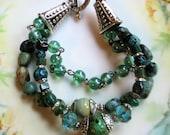 Aqua Picasso bracelet, turquoise bracelet, boho bracelet, southwestern bracelet, sea glass bracelet,  sea green glass bracelet