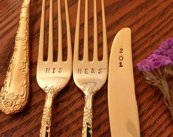 Wedding Forks 2or 3pc HIS HERS+ Option w knife 201? Option Gold Anniversary 24K Gold plated VTG Hand stamped Gatsby Cake Servers Real Photos