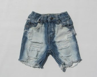 Toddler boy distressed denim jean shorts extra bleached front and back ripped any size
