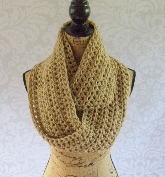 Infinity Scarf Crochet Knit Light Taupe by SouthernStitchesCo