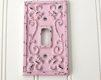 Light Switch Cover, Pink Light Switch Plate, Switchplate Cover, Lightswitch Cover, Cast Iron Fleur de lis, Cottage Chic Pink Wall Accent