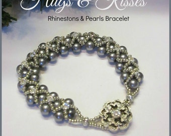 HUGS KISSES Beaded Pearl Bracelet ~ Silver Grey Glass Pearls and Rhinestones ~ Boho Vintage Style Handmade Jewelry by Ravengirl Design
