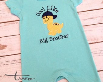 Cool Like Big Brother Romper, Boys Summer Romper