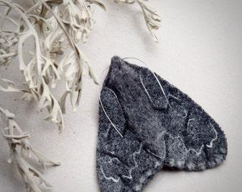 needle felted moth - textile moth - felt moth - large moth brooch - moth sculpture - fibre moth - gothic moth - grey black moth - UK