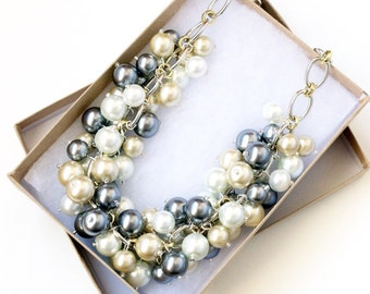 The Orabelle Pearl Statement Necklace, Mixed Metal Necklace, Silver Gold Chunky Necklace, Bib Necklace, Champagne Pearl Cluster Necklace