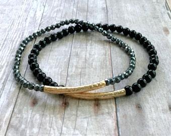 Gold Bead Bracelet, Gemstone Stretch Bracelet Set, Hematite & Black Onyx Jewelry, Black Beaded Bracelet Stack, Semi Precious Stone Jewelry