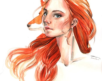Original Watercolor Artwork with girl and fox