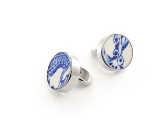 Willow Cufflinks, white and blue cuff links, Old pottery, Broken China cuff links
