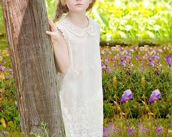 Rustic Lace Flower Girl Dress, Boho Ivory Lace Flower Girl Dresses, Vintage Lace Dress, County Flower Girl Dresses
