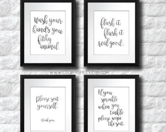 Bathroom Art SaleSALE Funny Printable Set Of 4 Instant