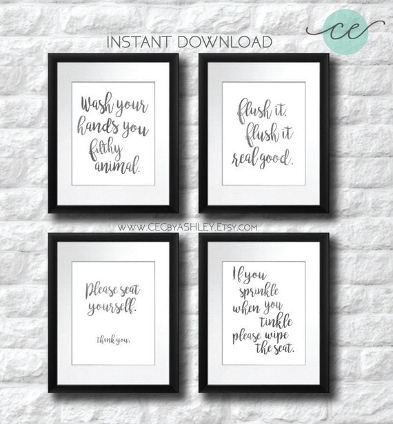 black and white artwork for bathroom bathroom salesale bathroom printable set of 25097 | il 570xN.1022022250 69mc