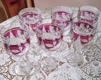 Set of 6 tomans wine glasses ruby-red European crystal wine glasses hand cut red wine glasses genuine lead crystal Hand Polished
