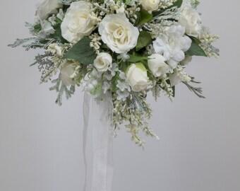 SILK FLOWER WEDDING bouquet white
