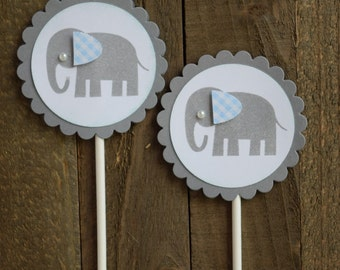 Elephant Cupcake Toppers, Baby Boy Elephant, Baby Shower Cupcake Toppers (Set of 12)