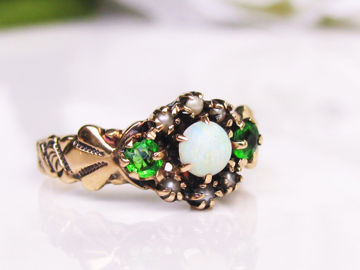 Antique Engagement Ring Seed Pearl & Opal Victorian Ostby
