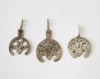 3 Antique Libyan  salhat pendants